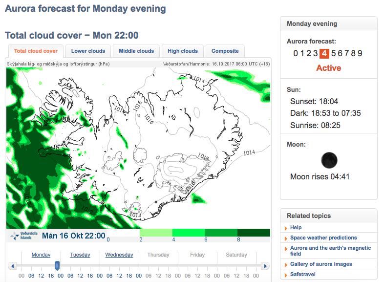 Prévisions pour voir une aurore boréale en Islande