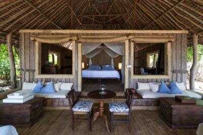 Salon d'une villa sur Mnemba Island à Zanzibar