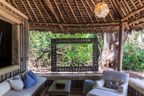 Salon d'une villa sur Mnemba Island