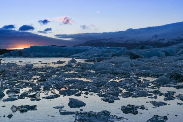 Sunset sur la lagune de Jokulsarlon