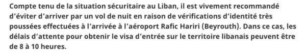 Visa on arrival au Liban