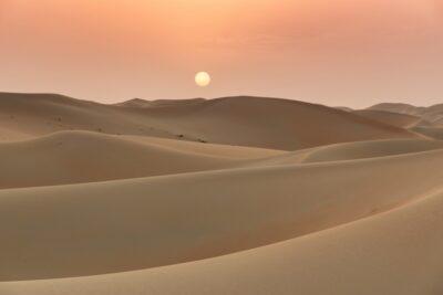 Coucher de soleil dans le Rub al Khali