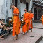Aumône aux moines à Luang Prabang