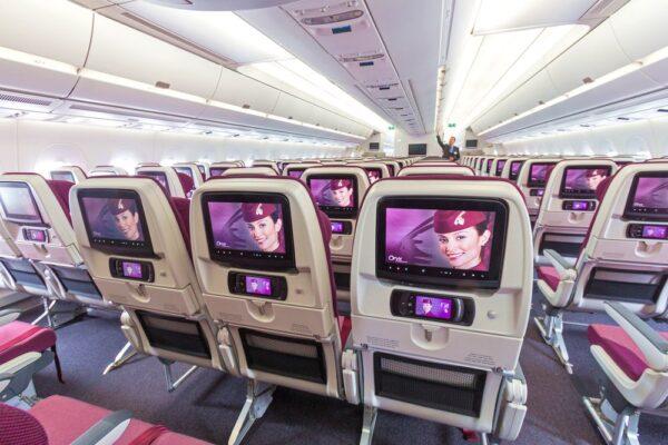Ecran et siège sur un avion Qatar Airways