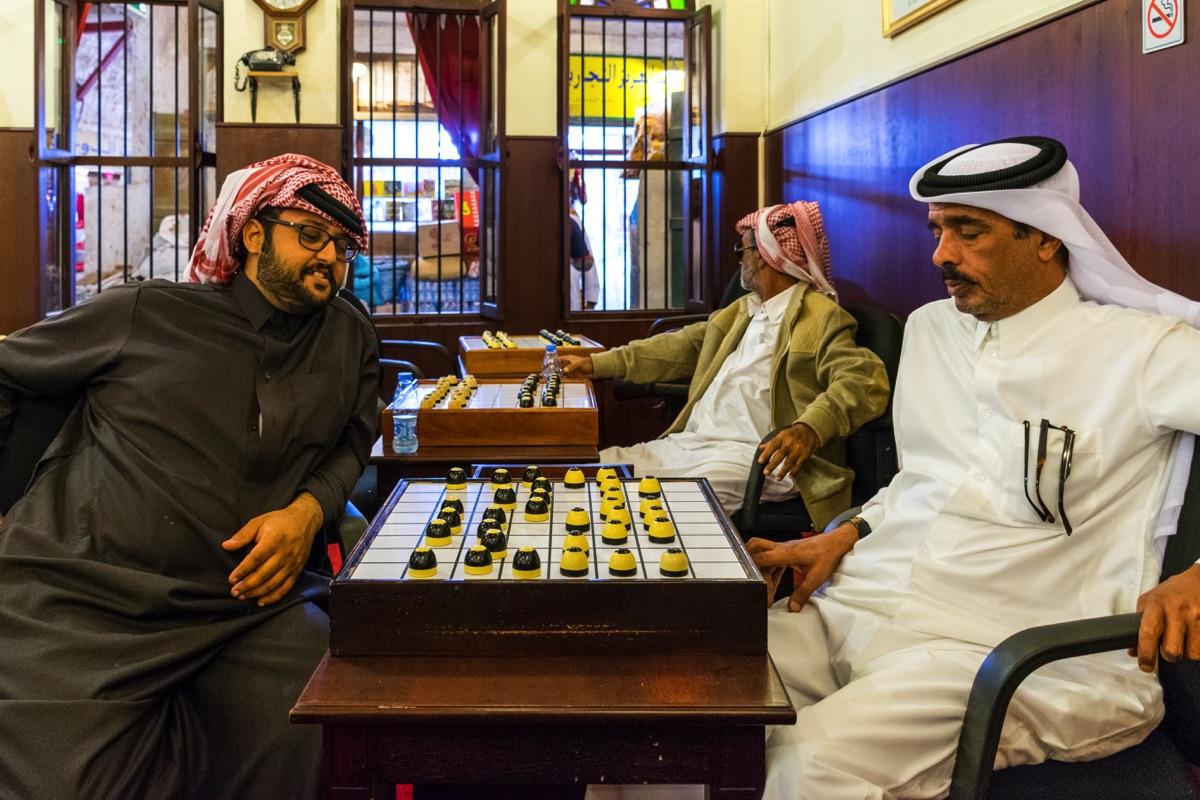 Joueurs de dame au souk al Waqif
