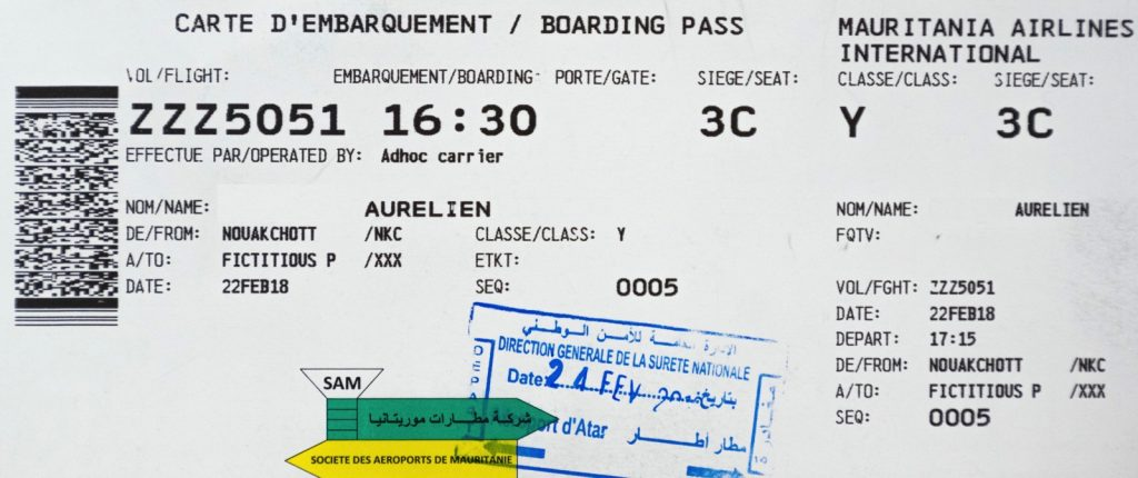 Boarding pass du vol retour de la Mauritanie