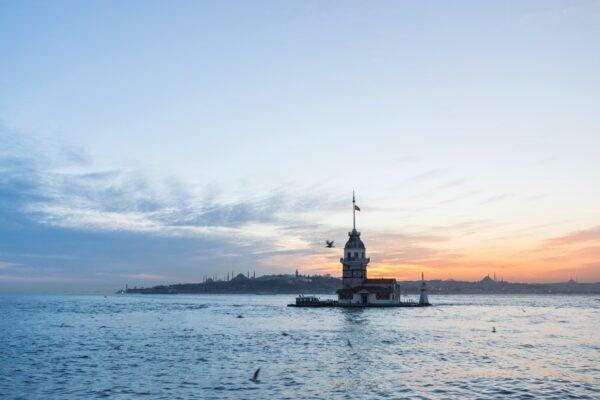 Coucher de soleil sur le Bosphore à Istanbul