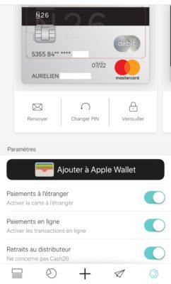 Avis sur la banque N26 : paramètres de la carte bancaire