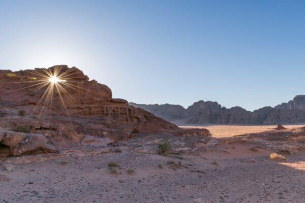 Coucher de soleil dans le Wadi Rum en Jordanie