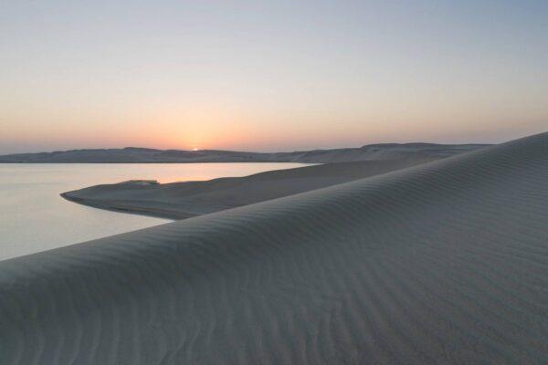 Coucher de soleil sur la mer intérieure du Qatar