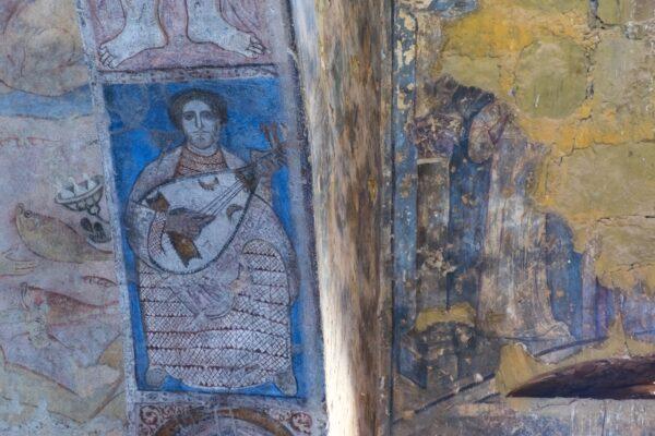 Fresque murale omeyyade dans le Qasr Amra