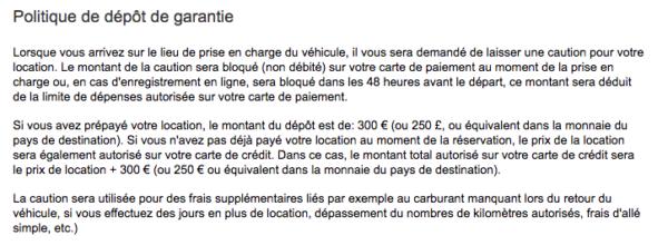 Avis sur le processus de réservation Europcar
