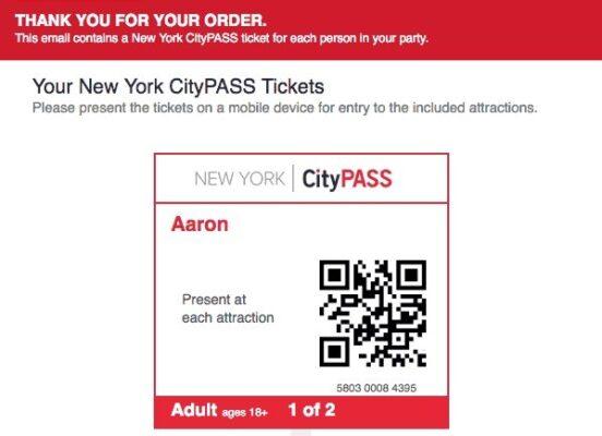 Achat du New York City Pass