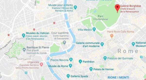 Carte Villa Borghese à Rome
