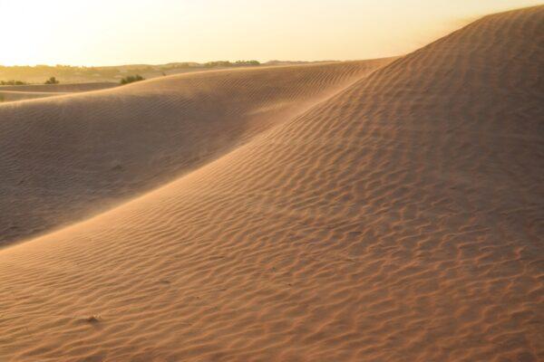 Coucher de soleil dans le désert à Dubaï