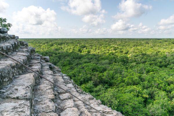 Vue depuis le sommet de la pyramide de Coba dans le Yucatan