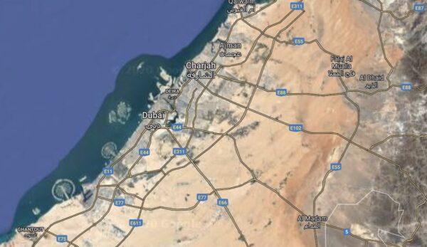 Vue satellite du désert de Dubaï