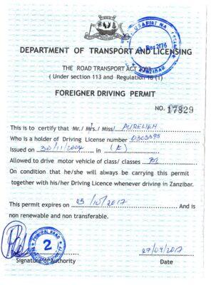 Permis de conduire à Zanzibar