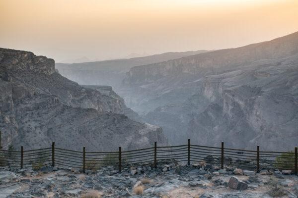Coucher de soleil au jebel Akhdar à Oman