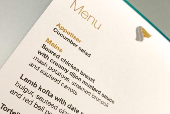 Menu repas chez Oman Air : avis