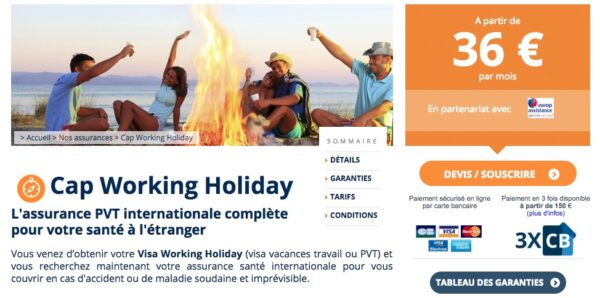 Chapka Assurance pour PVT : CAP Working Holiday