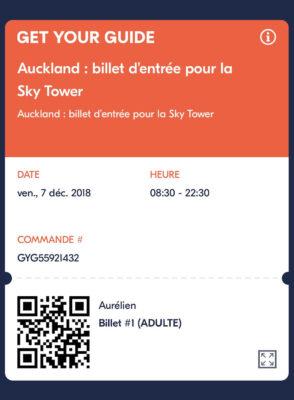 Billet pour la Sky Tower à Auckland