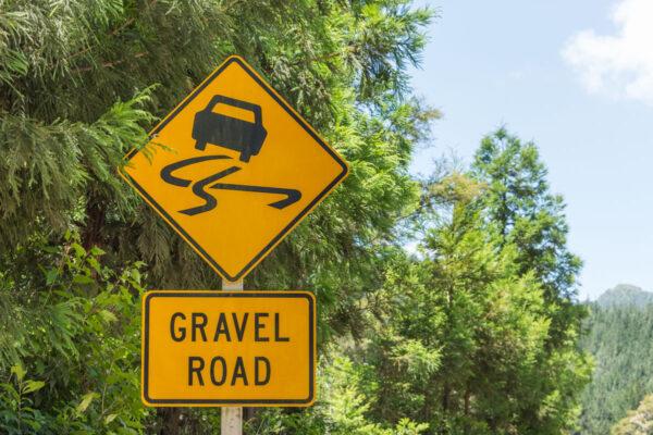 Gravel road en Nouvelle-Zélande