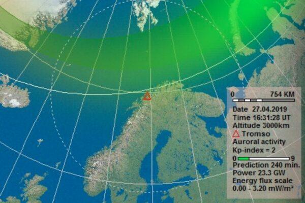 Carte avec indice Kp pour les aurores boréales en Norvège