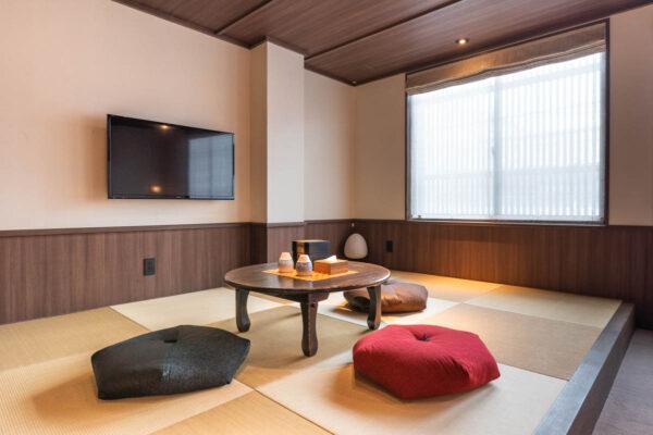 Chambre côté tatami au Junei Hotel de Kyoto