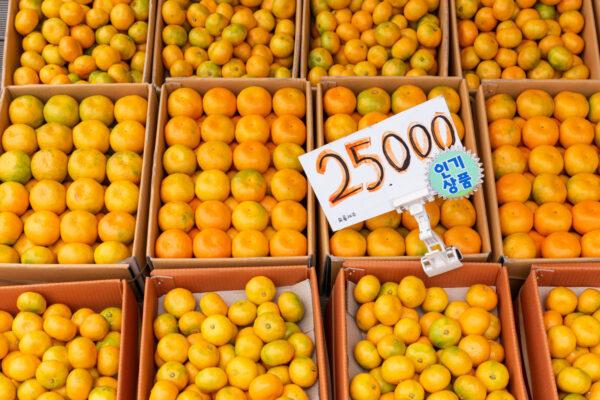 Mandarine et orange de l'île de Jeju