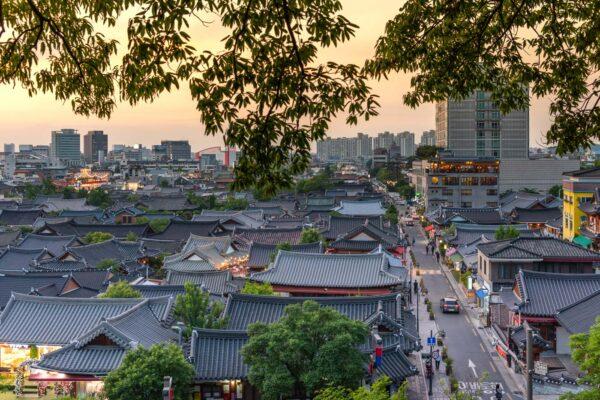 Coucher de soleil sur Jeonju
