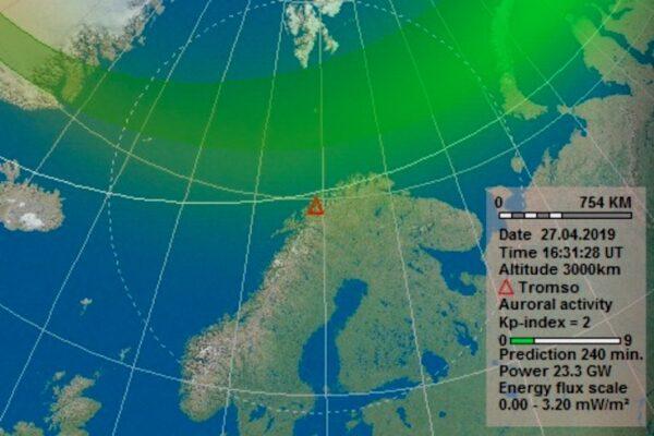 Intensité des aurores boréales à Tromso
