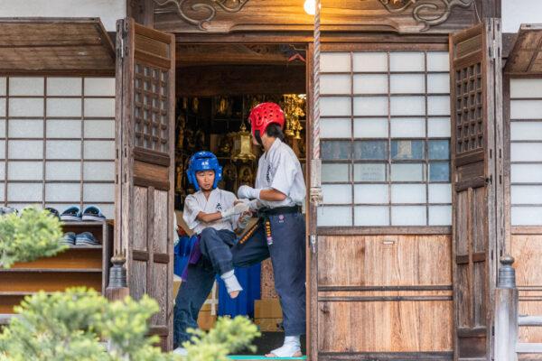 Arts martiaux dans un temple de Takayama