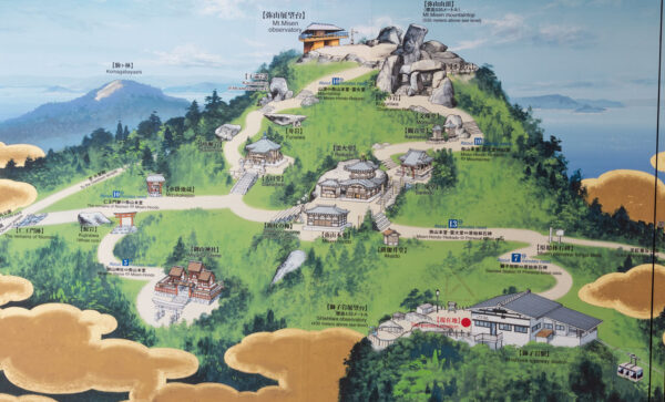 Schéma du mont Misen à Miyajima