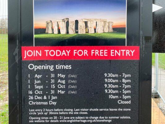 Horaires de Stonehenge