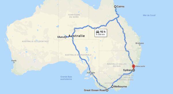 Itinéraire pour l'Australie en van