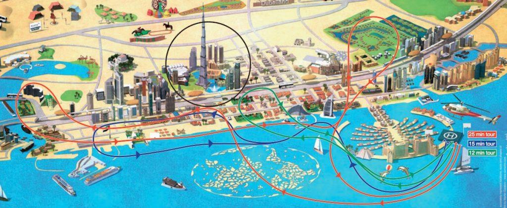 Parcours des tours en hélicoptère à Dubaï