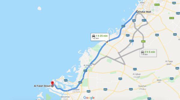 Distance entre Dubai et Abu Dhabi
