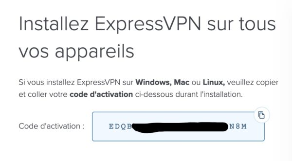 Activation pour l'installation d'Express VPN
