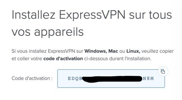 Activation pour l'installation d'Express VPN