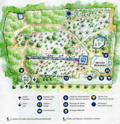 Plan du jardin Majorelle
