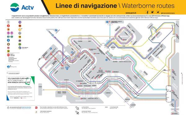 Plan des lignes de vaporetto à Venise