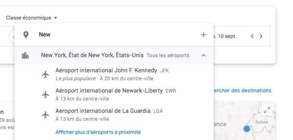 Choix de l'aéroport sur Google Flights