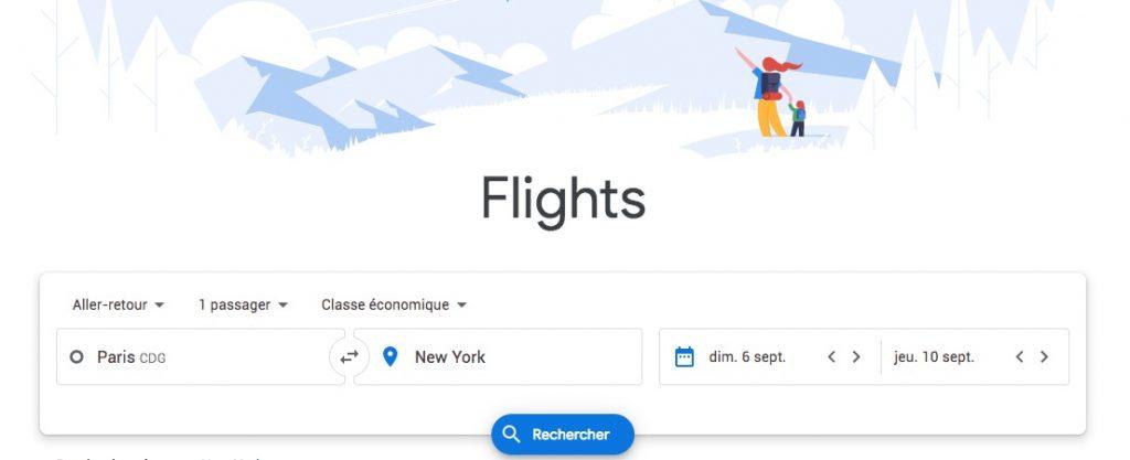 Google Flights, comparateur de vol de Google
