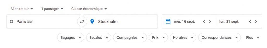 Filtres sur la recherche Google Flights