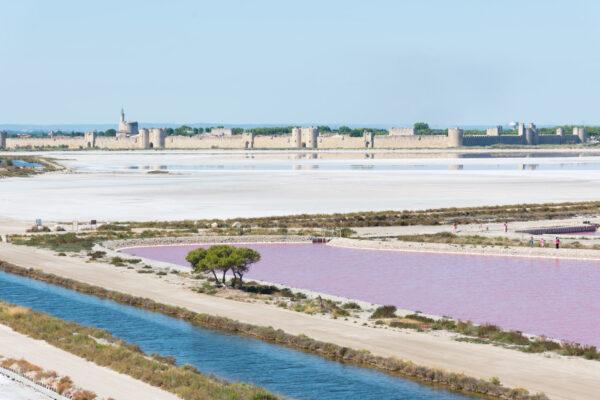 Panorama sur les salins et sur Aigues-Mortes