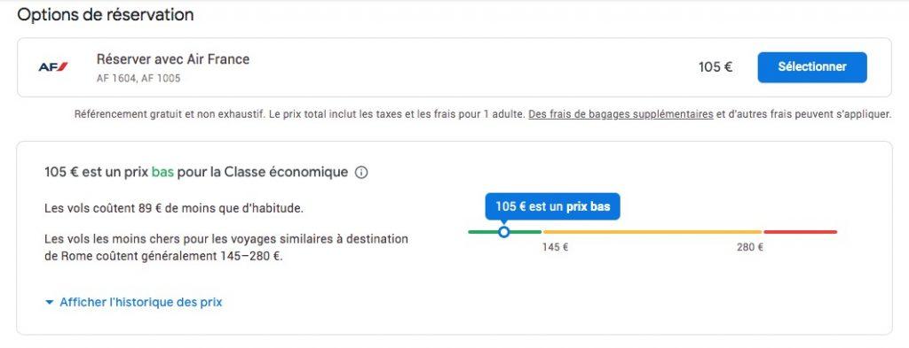 Prévision du prix sur Google Flights
