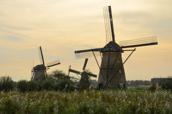Coucher de soleil à Kinderdijk