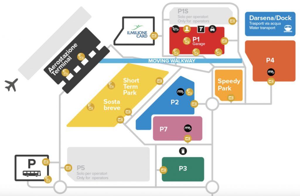 Plan de l'aéroport de Venise et de l'accès au terminal Alilaguna