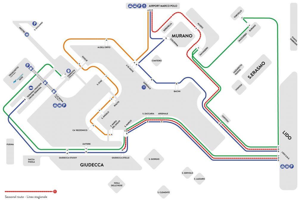 Plan du réseau Alilaguna pour le transfert de l'aéroport à Venise